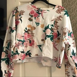 Flower cropped sweater